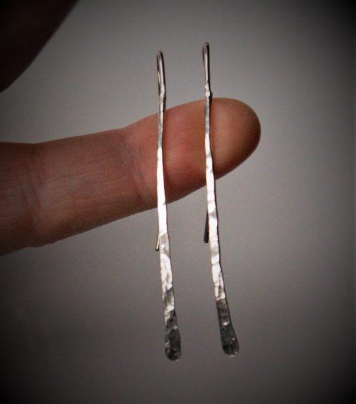 long hammered earrings