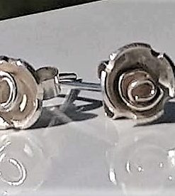 So;ver rose stud earrings