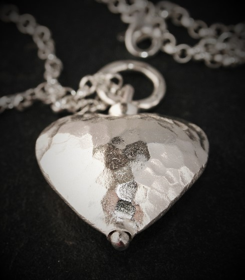 hammered silver heart